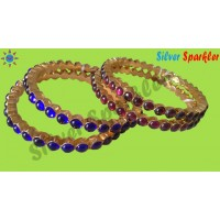 Temple Jewellery Single line Thongal Bangles with red kempstones or blue stones