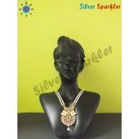 Amazing Temple jewellery Twin Peacock pearl malai
